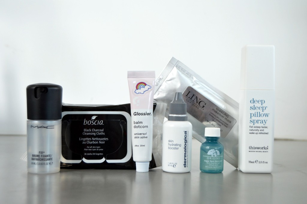 July Travel Faves feat. boscia, dermalogica, Glossier, LING, MAC, Origins and ThisWorks!